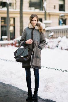 greek Street Fashion | Greek model Ros Georgiou, after Victoria Beckham, NYC, February 2013.