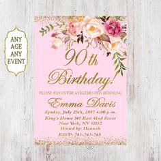 90th Birthday Invitation Women Birthday Invitation Floral