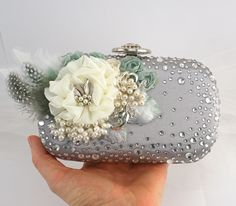 Bridal Clutch - Party Purse Clutch in Silver, Ivory, Seafoam and Vintage Green with Swarovski Crystals, Brooch and Pearls. $140.00, via Etsy.