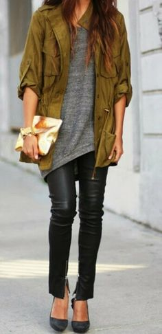 Green jacket gray tee wiht leather pants