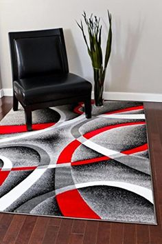 Contemporary Carved Modern Floral with Swirl Design Area Rug Legacy Collection 5 x 7, Burgandy//Black