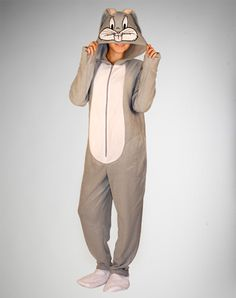 Bugs Bunny Hooded Footed Adult Pajamas 2XL | Spencersonline.com