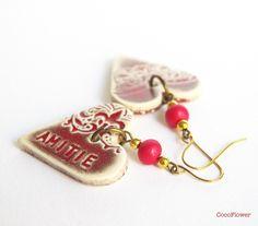 bijoux d amitié, bijoux d oreille, boucle d oreille coeur rouge, cadeau pour une amie, motif arabesque : Boucles d'oreille par cocoflower