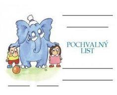 Pochvalný list A5 - Děti a slon Smurfs, Fictional Characters, Fantasy Characters