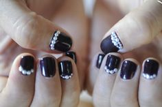 Pearl embellished nails on @Emily Schuman / Cupcakes and Cashmere #naildesign