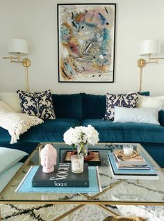 Velvet Sofa – Are They Durable, Practical and Easy to Clean? Do you love the latest Velvet Sofa looks but wondering if They're Durable, Practical [. Living Room Paint, Living Room Sofa, Rugs In Living Room, Home And Living, Living Room Designs, Living Room Decor, Blue Velvet Sofa Living Room, Blue Sofas, Teal Living Rooms