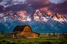 """A Mornings Rise"" Mormon Barn, Grand Tetons by Dan Ballard Photography on Flickr. Moran, Wyoming"