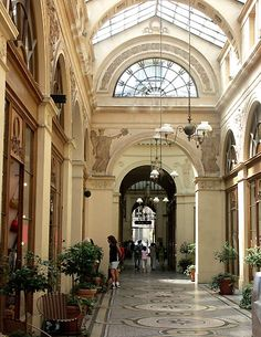 stunning walkway in Paris French Architecture, Architecture Details, Galerie Vivienne, Covered Walkway, The Catacombs, French Lifestyle, Cafe Art, Tudor House, Belle Villa