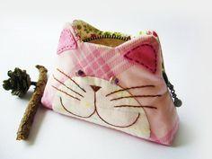 Cat purse / Cat zipper purse / Cat coin purse / Hand di DooDesign  <3