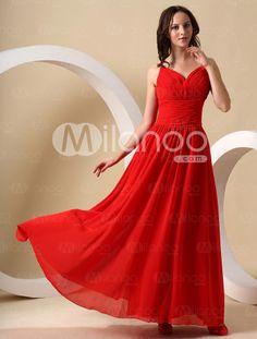 Pretty Red Chiffon Sweetheart Floor Length Bridesmaid Dress - Milanoo.com