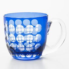 Japanese Glass Mug 江戸切子の硝子カップ 玉つなぎ(藍) | 無印良品ネットストア