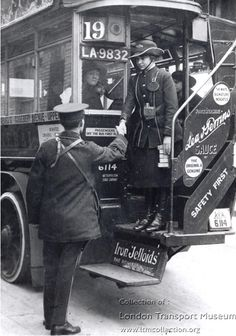 Posed photograph of the first LGOC female 'clippie' shaking hands with a male bus conductor, circa London History, British History, Vintage London, Old London, Old Pictures, Old Photos, Vintage Photographs, Vintage Photos, London Transport Museum