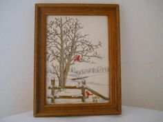 Vintage small frame Embroidered Cardinal bird in a by houuseofwren