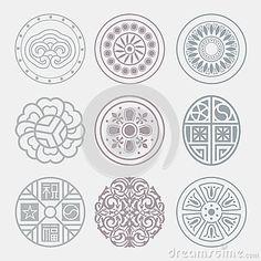 Round Grid Symbol Sets. Geometric Pattern Design. Stock Illustration ...