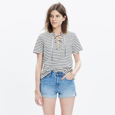 Striped Lace-Up Top : shop all tees | Madewell
