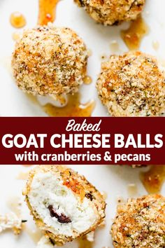These crispy baked goat cheese balls with cranberries are festive recipe for any gathering. Serve them as an appetizer or with salads. Gluten Free Appetizers, Appetizer Recipes, Cheese Recipes, Salad Recipes, Appetizers For Party, Dessert Recipes, Baked Goat Cheese, Clean Eating Recipes, Cooking Recipes