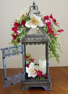 Silk Orchid Glass Lantern Arrangement by McCabeFloralandGifts