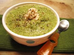 """Clean eating broccoli soup! I freeze broccoli when I can get it cheap and buy it by the case. There are always """"crumbs"""" at the bottom, so I'm going to try this out! I also have some kale on hand so I'm going to add that. I'm so excited. Broccoli soup is my favorite, but hasn't always been the healthiest of versions (lots of cream and cheese). Can't wait to see if this is a good alternative! Sarah"""
