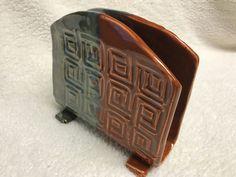 Linda Sciascia. Napkin holder, stone wear ceramic pottery.