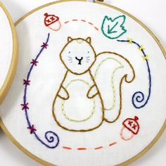 Sweet Woodland Animals Hand Embroidery PDF Pattern featuring an adorable Fox and cute Squirrel - these patterns are perfect to frame for a nursery,