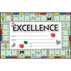 Each shrinkwrapped package contains 36 identical awards. Each award is printed on cardstock and measures x Monopoly Classroom, Monopoly Theme, Board Game Themes, Printable Board Games, Recognition Awards, Employee Recognition, Recognition Ideas, School Themes, Classroom Themes