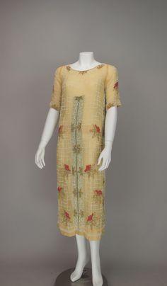 1920s House of Adair Art Deco beaded cotton dress image 2
