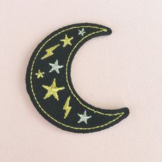 Moon Patch - Iron-On - Embroidered Applique – Black, Metallic Gold & Silver…