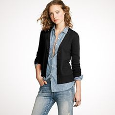 This pic gives me an Idea for shirt that's too small...cut and sew visible pieces into a cardigan