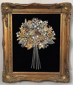 Framed Art Flower Bouquet Handmade with Vintage/Costume Jewelry - June 15 2019 at Costume Jewelry Crafts, Vintage Jewelry Crafts, Vintage Costume Jewelry, Vintage Costumes, Recycled Jewelry, Jewelry Frames, Jewelry Tree, Diy Framed Art, Jewelry Christmas Tree