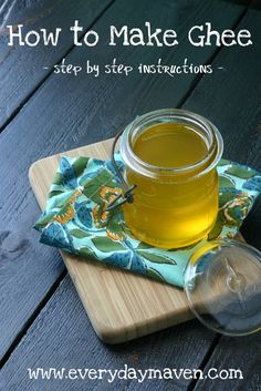 How to Make Ghee.  Ghee butter is essentially clarified butter that is cooked a bit longer until the clarified butter is golden and the milk solids at the bottom are toasted (but not burnt!) Ghee butter does not need to be refrigerated so this would be perfect to have stored in your preps and at least you have no worries about butter if the power goes out too. This is healthier than real butter too.
