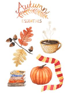 'Autumn Essentials - Watercolour Illustration' by Markéta Antonínová Watercolour Illustration, Autumn Illustration, Book Illustration, Autumn Cozy, Autumn Art, Autumn Leaves, Autumn Decorating, Fall Decor, Autumn Essentials