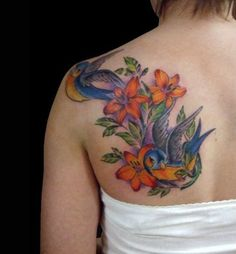 Sparrow and Lily Tattoo for Shoulder : Ideas For Creativity