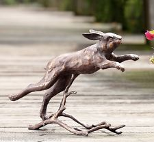 "Running Bunny Rabbit Garden Sculpture Metal Outdoor Statue Bronze Finish 15""W"