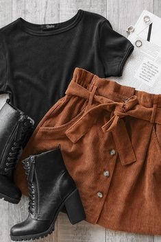 No Loose Ends Tan Corduroy Skirt Details Size Guide Model Stats Contact Stand ou. Moda Instagram, Teen Fashion Outfits, Outfits For Teens, Womens Fashion, Petite Fashion, Fashion Trends, Comfortable Outfits, Cute Casual Outfits, Spring Outfits