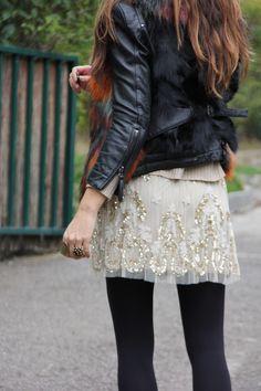 pailettes & fur vest | mytenida en stylelovely.com