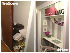 I don't have a closet to do this with, but it is too darn clever to not pin!  Maybe when all the kids move out?
