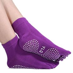 Lerela Full Toe Exercise Yoga Socks Pilates Barre Sock with Grip for Girl Women 2 Pairs *** More details can be found by clicking on the image.