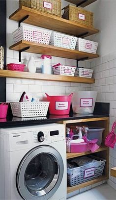 Laundry Room Cabinets Ideas and Design Decorating Minimalist laundry room cabinets provide decorative and functional elements in the laundry room. Here are 25 ideas to create a modern laundry room. Bathroom Storage, Kitchen Storage, Kitchen Shelves, Towel Storage, Linen Storage, Room Shelves, Ikea Bathroom, Bathroom Closet, Hanging Shelves