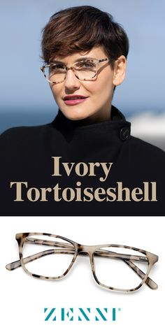 A twist on the classic, Ivory Tortoiseshell. Shop the it trend now ✨ women yoga pants leggings men namaste Cute Glasses, New Glasses, Glasses Frames, Short Hair Cuts, Short Hair Styles, Looks Style, My Style, Fashion Eye Glasses, Laura Lee