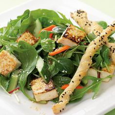 Looking for creative ways to cut back on eating meat? This Asian-inspired salad packs a ton of taste into a light meal that's easy to throw together – so easy that it's faster than picking up the phone for takeout. If you've never tried tofu, it's a simple ingredient to work with and versatile enough