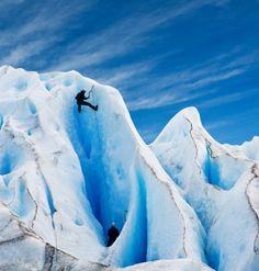Men climbing a glacier in Patagonia