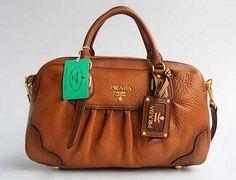 Prada 80044 Beautiful Style Handbag-Light Coffee
