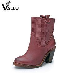 be9c0fa6 2018 Vintage mujer botas de tacón alto hecho a mano de cuero genuino  tacones gruesos tobillo