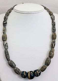 Ancient Roman Eye Bead Pendant Necklace w/ Ancient Tribal African Granite Beads