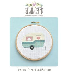Retro Camper Vintage Travel Trailer Cross Stitch by Sewingseed, $5.00