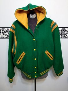 1950 s Green and Gold Varsity Jacket Vintage by RetrosaurusRex Varsity  Jackets 4a14bf77b