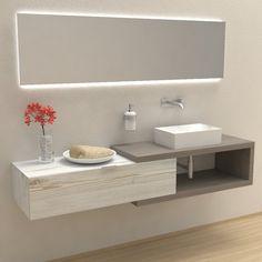 Mobili bagno - Composizione Arena 100 - Mobile lavabo completo. Il kit comprende mensola lavabo, reggimensole, cassettoni e pensili e lavabi, nelle varie forme e finiture proposte, o combinazioni di quest'ultime.