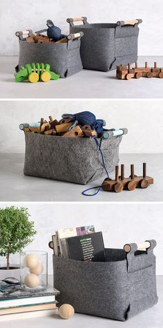 The sturdy form of these modern, grey felt storage baskets means they can hold anything and everything from books and magazines, to blocks and toys
