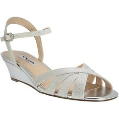 Nina Filia Wedge Sandals ($79) ❤ liked on Polyvore featuring shoes, sandals, silver, ankle tie wedge sandals, wedge sandals, glitter sandals, ankle strap wedge sandals and ankle strap wedge shoes