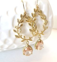 Peach Earrings Gold Earrings Gold Leaf Laurel Wreath Grecian Jewelry Greek Jewelry Earrings, $38.00